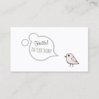 speech cloud tweet bird babysitting childcare card