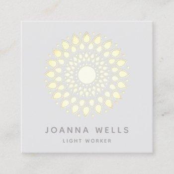 spiritual gold lotus mandala square business card