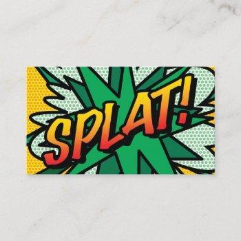 splat fun retro comic book business card