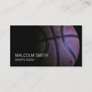 sports agent dark basketball closeup business card