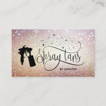 spray tan script glitter gold marble texture business card