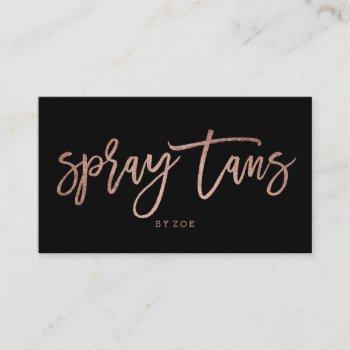spray tans logo elegant rose gold typography black business card
