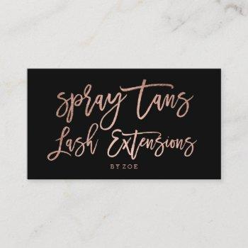 spray tans logo lashes rose gold typography black business card
