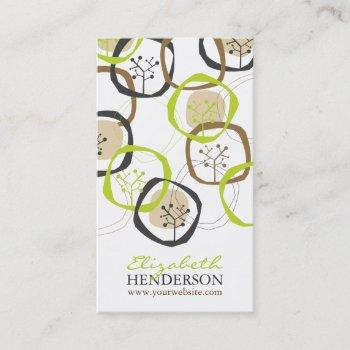 spring and summer organic tree rings modern nature business card