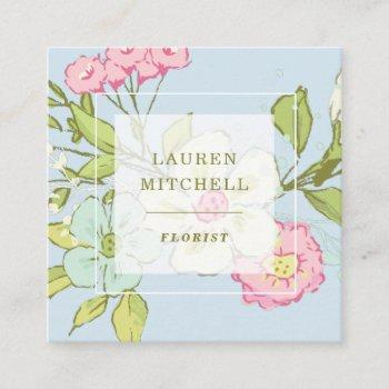 spring garden in blue | floral social media square business card