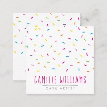 sprinkles modern cute patterned colorful party square business card
