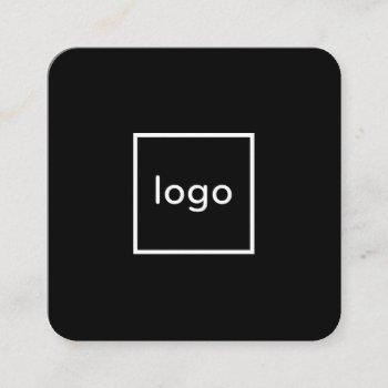 square professional black add your custom logo square business card