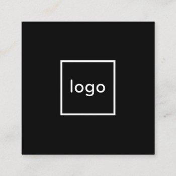 square professional black add your custom logo square business card