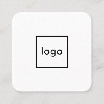 square professional white add your custom logo square business card