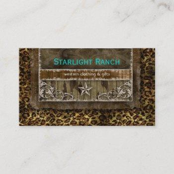 star suede business card leopard blue brown h