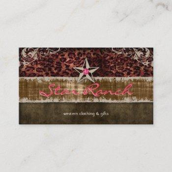 star suede business card leopard brown h
