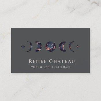 starry moon phase yoga spiritual healer business card