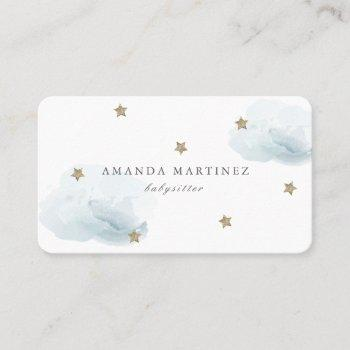 stars & clouds simple white business card
