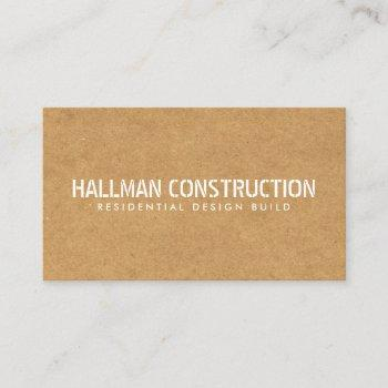 stenciled particle board construction builder business card