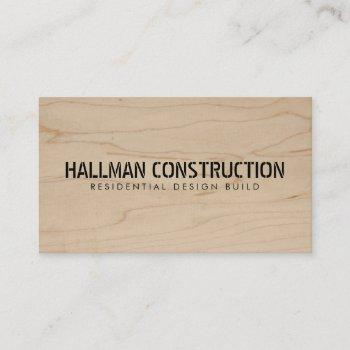 stenciled wood construction business card