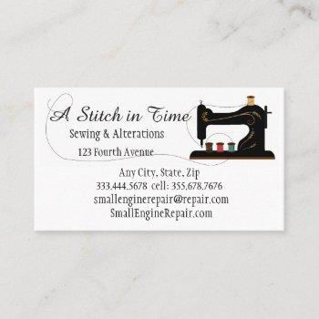 stitch in time sewing alterations repair business card