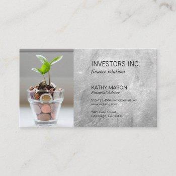 stock broker | investments | financial growth business card