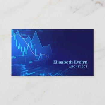 stock market or forex trading graph in graphic business card