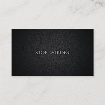 stop talking funny social black business card