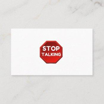 stop talking sign business card