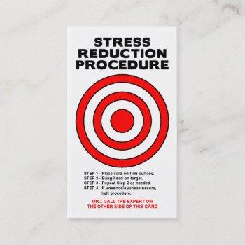 stress reduction funny business card