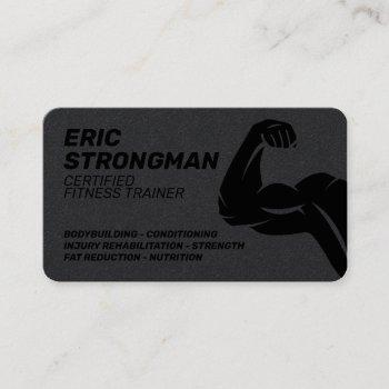 strong masculine dark style trainer business card
