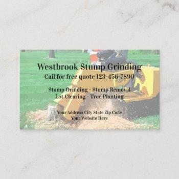 stump grinding and tree removal business card