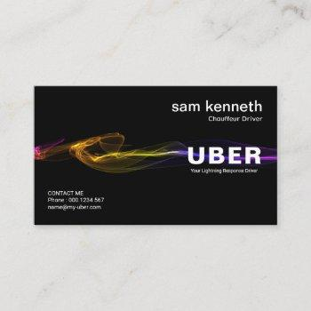 stunning black striking lightning taxi service business card