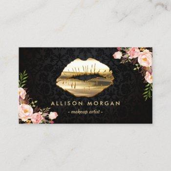 stunning gold lips makeup artist floral business card