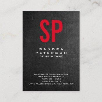 style chalkboard gray red monogram professional business card