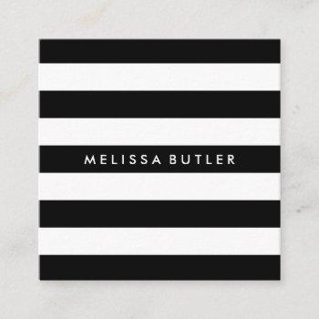 stylish black and white stripe square business card