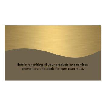 Small Stylish Corporate / Gold Metallic Business Card Back View