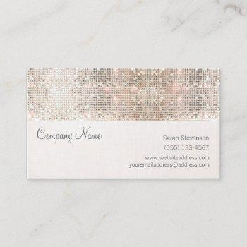 stylish faux silver sequins linen fun trendy business card