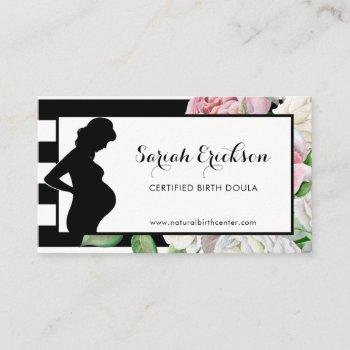 stylish flowers and stripes maternity birth doula business card