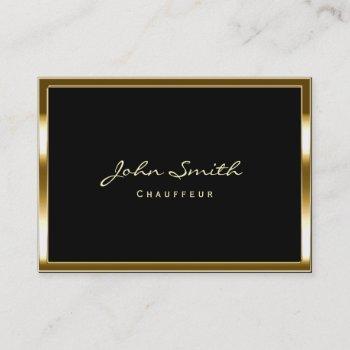 stylish gold border chauffeur chubby business card