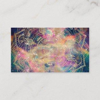 stylish gold mandala watercolor & nebula colorful business card