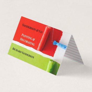 stylish house painter decorator paint roller business card