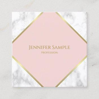 stylish marble gold blush pink modern template square business card