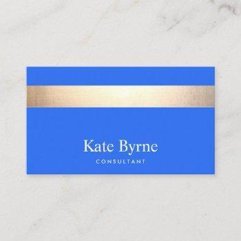 stylish modern gold stripe cobalt blue business card