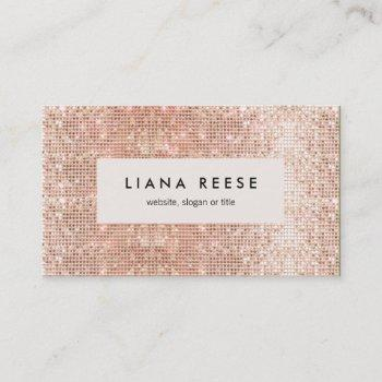 stylish modern rose gold sequin beauty salon business card