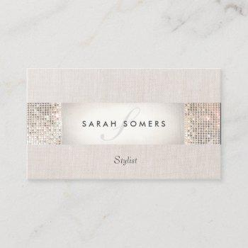 stylish modern silver sequin monogram beauty business card