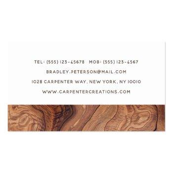 Small Stylish Modern Wooden Carpentry Construction Business Card Back View
