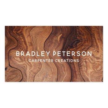 Small Stylish Modern Wooden Carpentry Construction Business Card Front View
