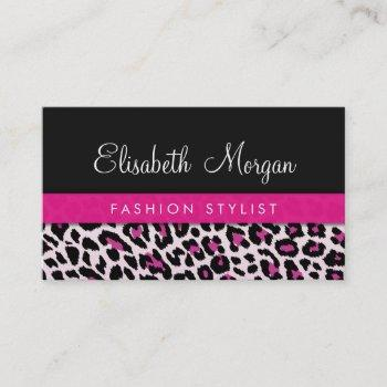 stylish pink leopard print girly ribbon networking business card