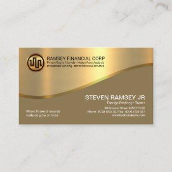 stylish retro gold cover gold wave investment business card