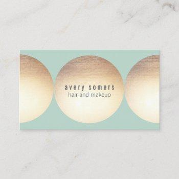 stylist gold circle light turquoise beauty salon business card