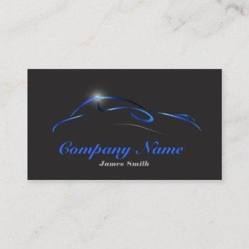 stylized elegant blue on black auto detail eu business card