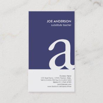 substitute teacher bold monogram business card