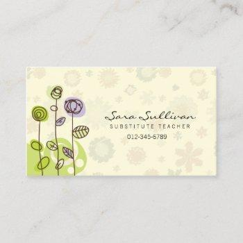 substitute teacher business card doodle flowers