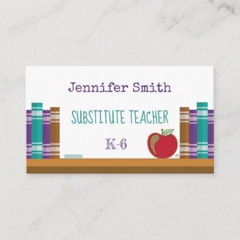 substitute | teacher | tutor white business cards